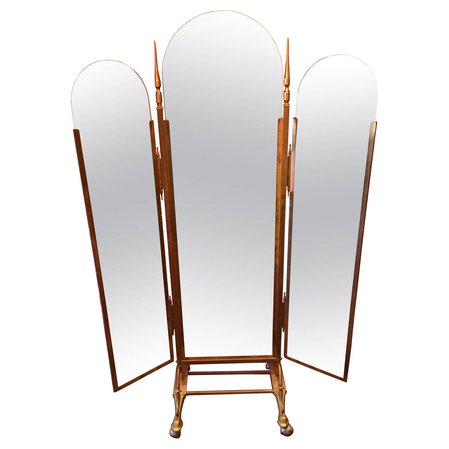 Vintage italian brass three way folding floor mirror for for Floor length mirror for sale