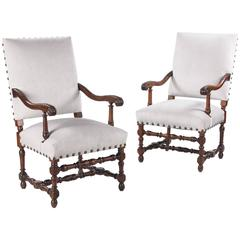 Pair of French Louis XIII Style Walnut Armchairs, 19th Century