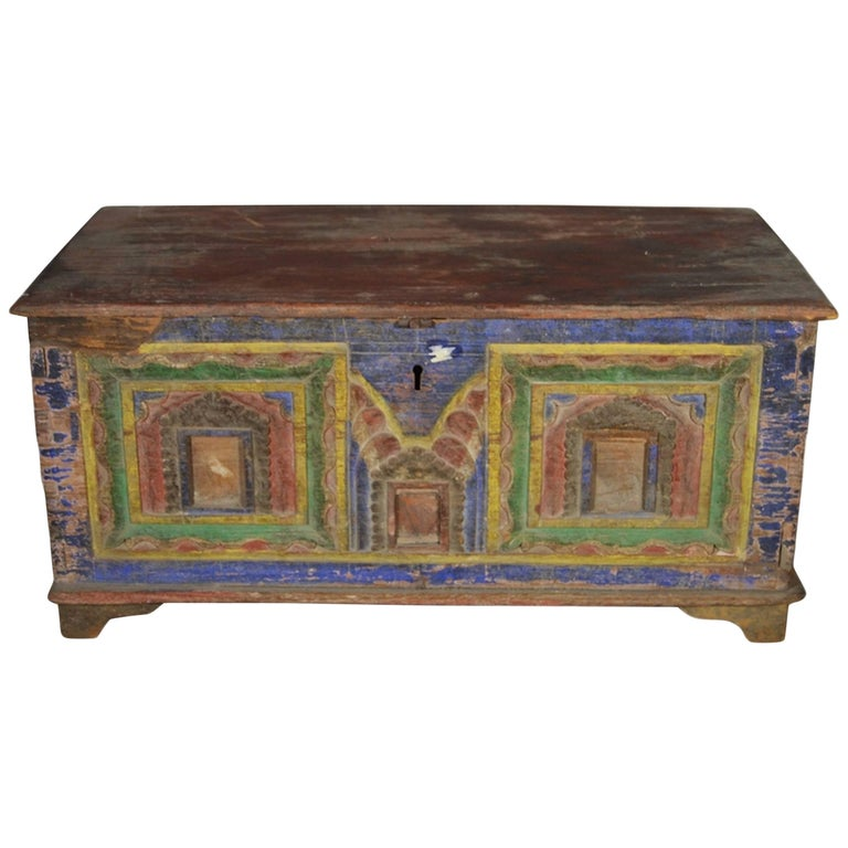 Antique Indian Hand-Carved and Painted Trunk with Patina, 19th Century