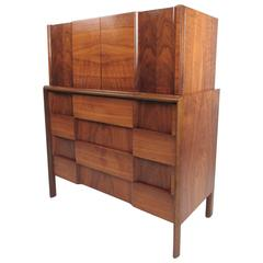 "Edmond Spence Highboy ""Checkerboard"" Dresser"