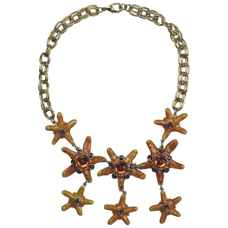 Vintage Gem-Craft Bejeweled Starfish Bib Necklace, Signed CRAFT © For Sale