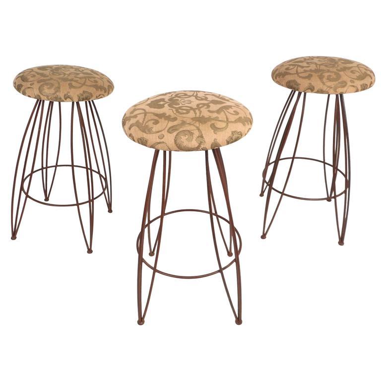 Unique Set Of Mid Century Modern Wrought Iron Bar Stools