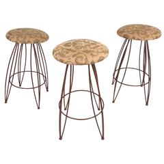 Unique Set of Mid-Century Modern Wrought Iron Bar Stools