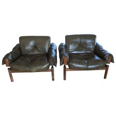 Pair of Vintage Italian Leather Lounge Chairs