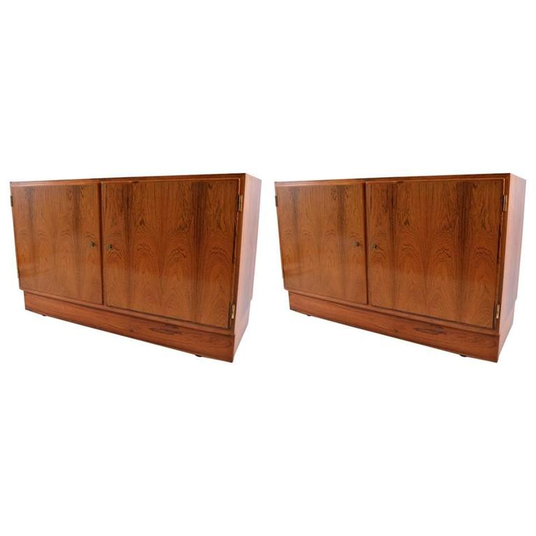 Pair Danish Modern Two-Door Cabinets in Rosewood