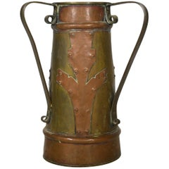 Vintage Indian Bi-Color Hand-Hammered Copper Pitcher, Early 20th Century