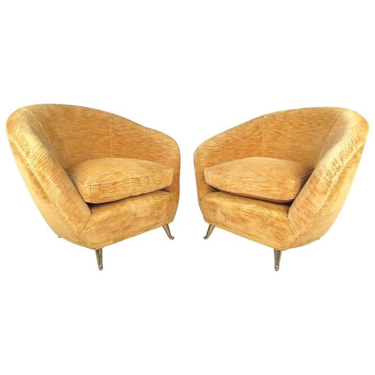 Pair Italian Modern Club Chairs With Brass Legs