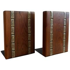 Martz Ceramic and Wood Bookends
