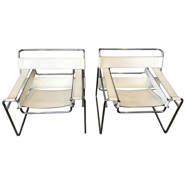 vintage pair of white leather marcel breuer wassily chairs at 1stdibs