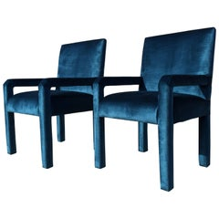 Pair of Mid-Century Modern Parson Chairs, Lagoon Blue Velvet