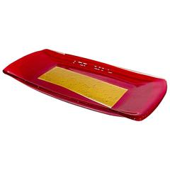 Fabulous Red and Yellow Art Glass Tray, Signed