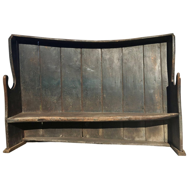 Vintage English Settle Bench, circa 19th Century For Sale