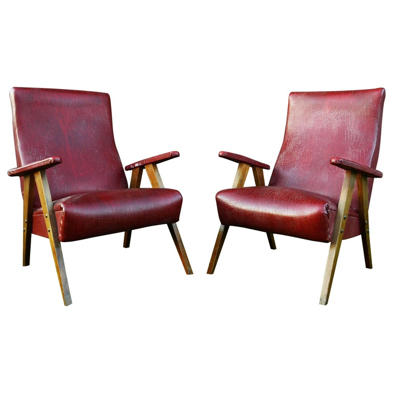 Vintage Red Leather Armchairs, circa 20th Century For Sale