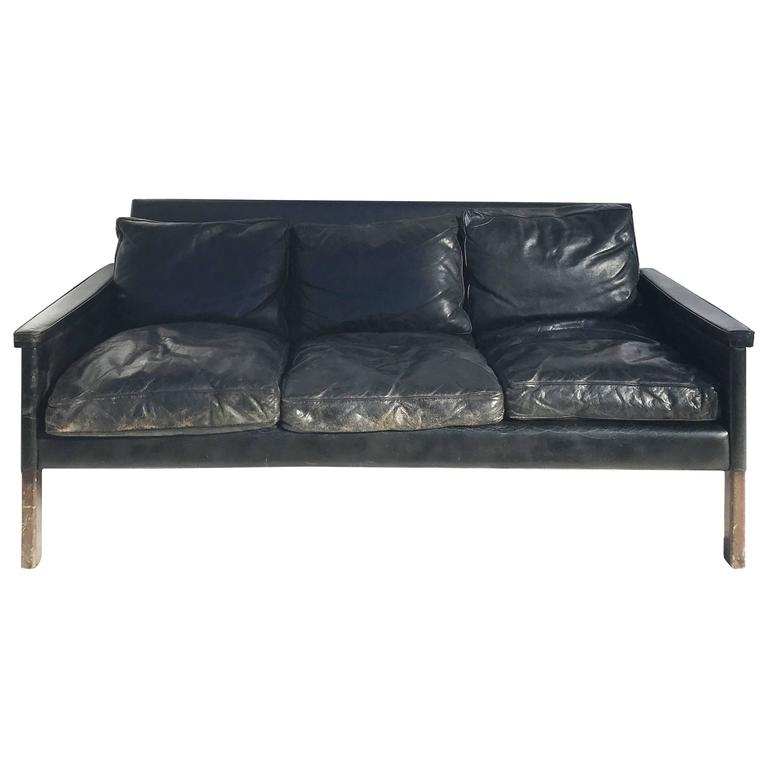 Vintage Black Leather Sofa Circa 20th Century For