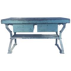 Vintage Blue Steel Industrial Table