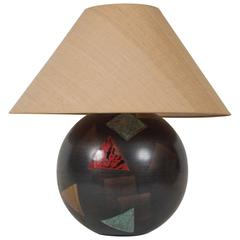 Bronze Spherical Lamp by Karl Springer with Dinanderie Decoration