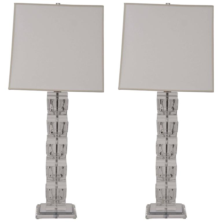 Pair of Lucite Table Lamps in the style of Karl Springer