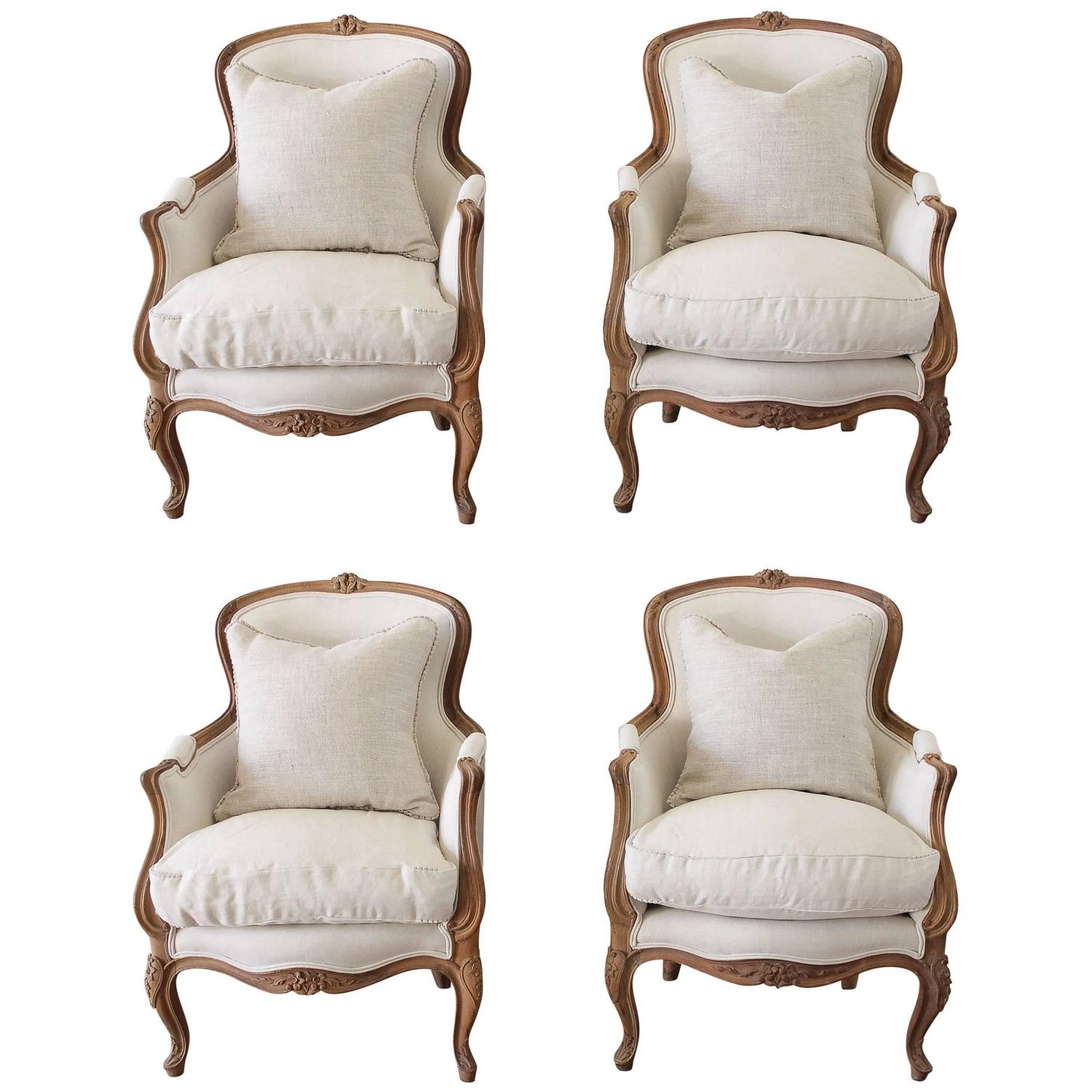 20th Century Carved Walnut Bergere Chairs in Belgian Linen at 1stdibs