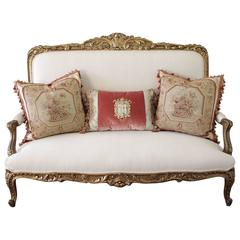 19th Century Carved Giltwood Louis XV Style Settee