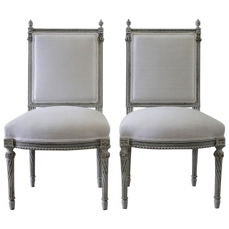 Pair of 19th Century Painted Rose Carved Louis XVI Style Side Chairs