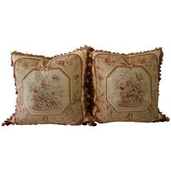 Pair of 19th Century Aubusson Needlepoint Pillows