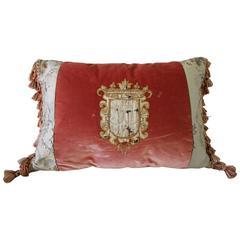 Antique Embroidered Crest Velvet with Tassle Pillow