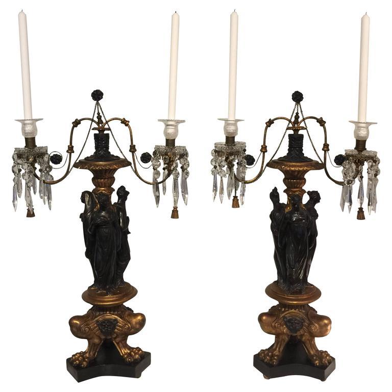 Pair of Italian Neoclassic Figural Giltwood Candelabra