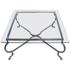 Hollywood Regency Square Glass Top Cocktail Table with Aluminium Base