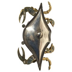 Mexican Brass and Copper Crab Dish by Los Castillo with Lid