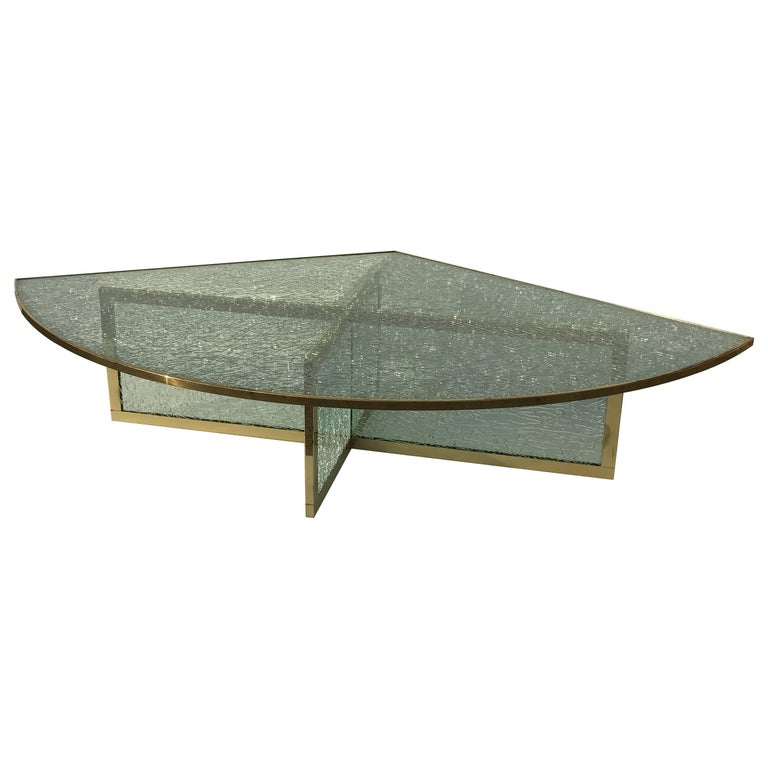 Massive Steve Chase Designed Crackled Glass and Brass Coffee Table For Sale