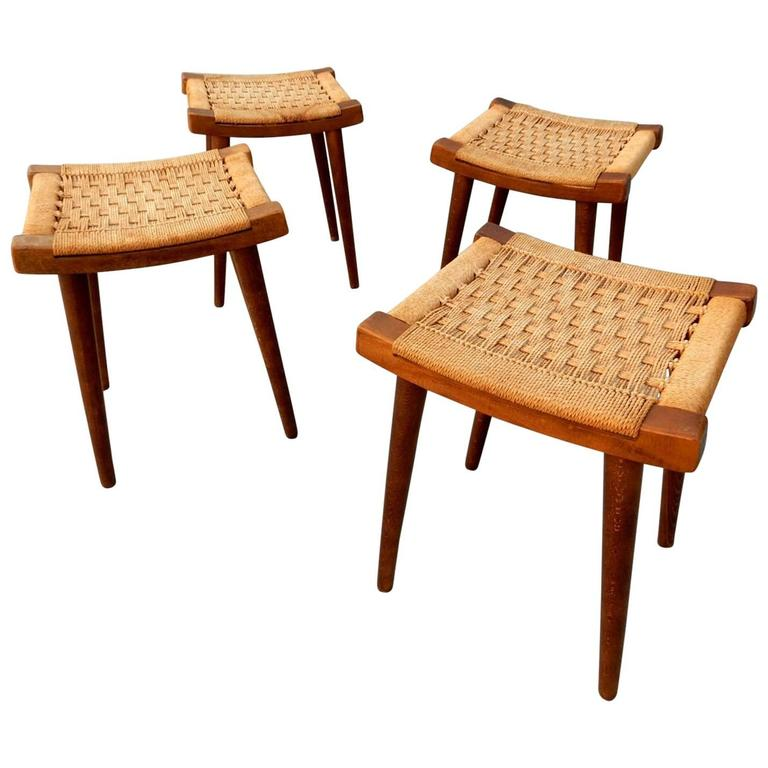 Four Mid Century Danish Modern Stools In Style Of Hans