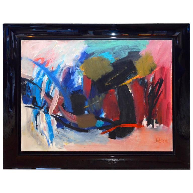 Pierre Fulcrand Oil on Canvas, Abstraction, 1963