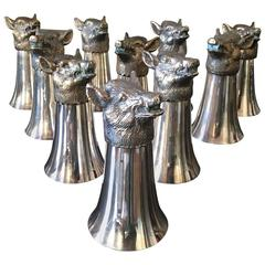 Rare Set of Ten Boar's Cups, Valenti Spain, circa 1950