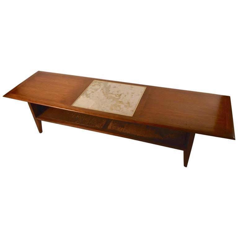 Mid Century Surfboard Coffee Table At 1stdibs: Mid-Century Modern Terrazzo Walnut Surfboard Coffee Table