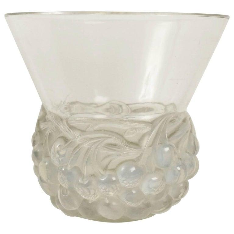 """René Lalique Opalescent Vase """"Cerises"""" For Sale"""