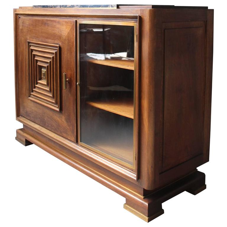 Fine French Art Deco Two Doors Walnut Buffet in the Manner of Maxime Old