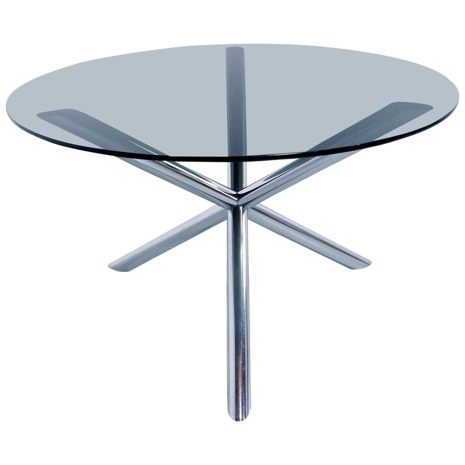 top s round dining table in chrome and smoked glass by roche bobois for sale at stdibs with. Black Bedroom Furniture Sets. Home Design Ideas
