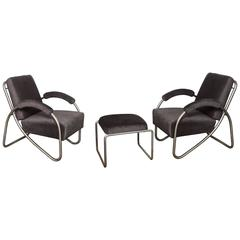 Pair of Art Deco Bauhaus Style Tubular Steel Lounge Chairs and Ottoman