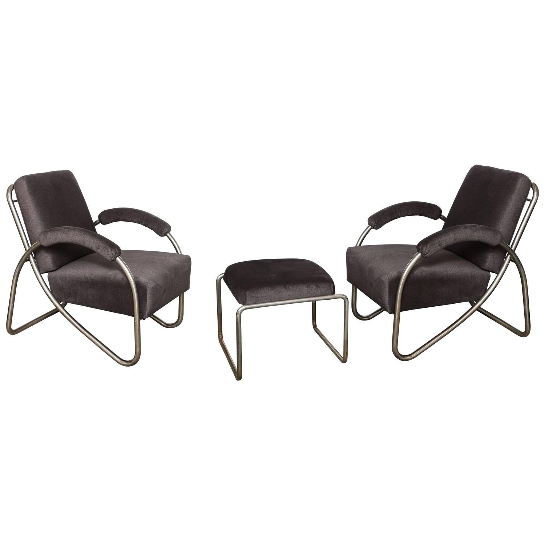 Bauhaus tubular steel lounge chair at 1stdibs - Anton Lorenz Thonet Tubular Steel Lounge Chairs And Ottoman For Sale At 1stdibs