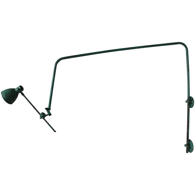 French Adjustable Industrial Green Lacquered Metal Wall Light