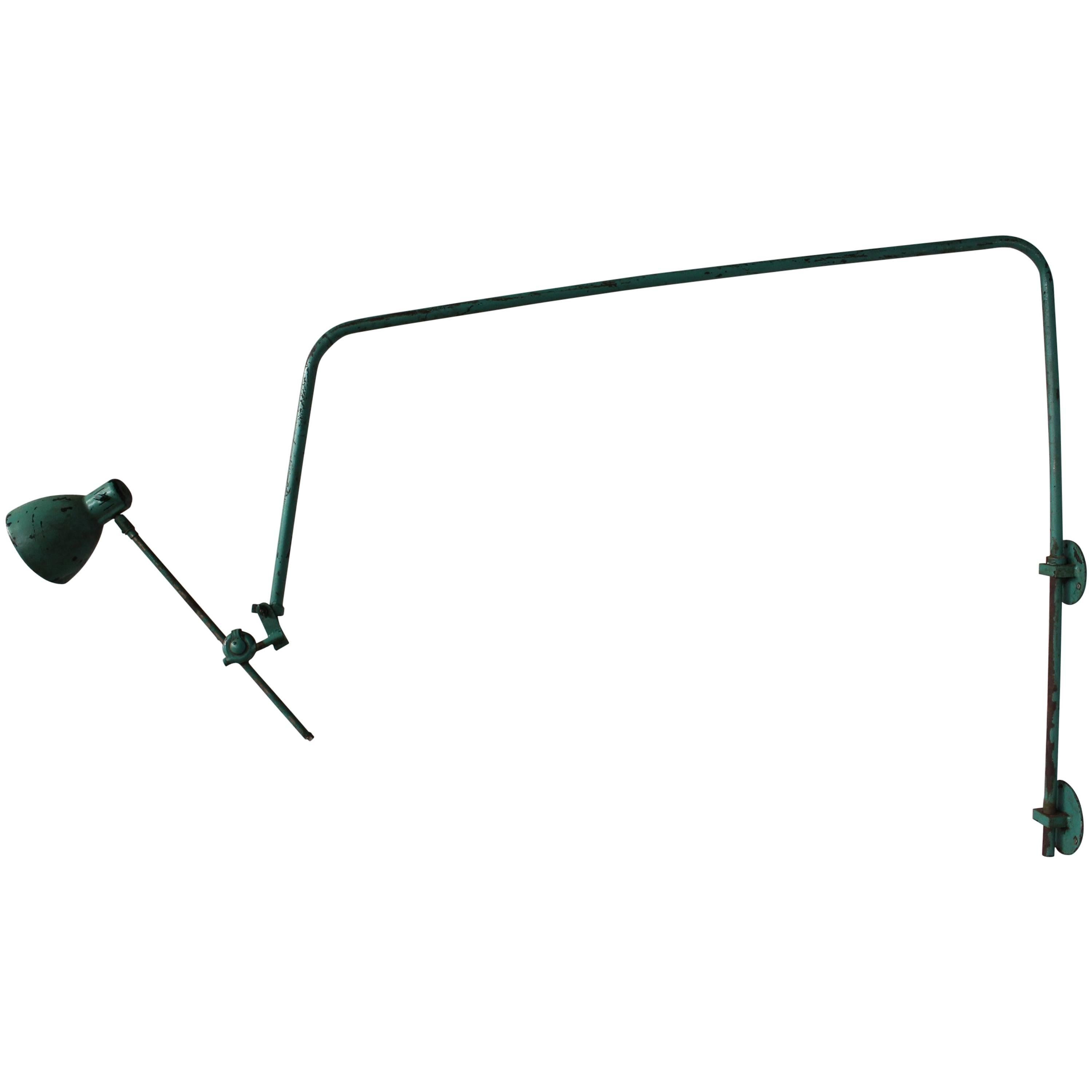 A French Adjustable Industrial Green Lacquered Metal Wall Light