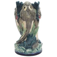 19th Century Majolica Palissy Monkfish Vase Thomas Sergent