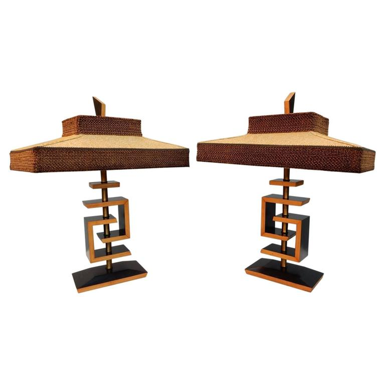 1940s Mid-Century style of James Mont Two-Tone Sculptural Lamp, Pair