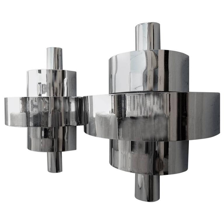 1940s Streamline Moderne Art Deco Sconce Wall Lamps in Nickel
