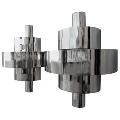 1940s Streamline Moderne Art Deco Sconce Wall Lamps in Nickel