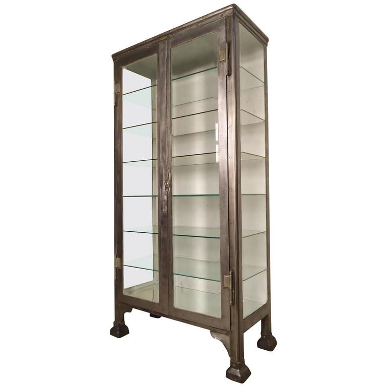 Merveilleux Massive Industrial Metal Display Cabinet For Sale