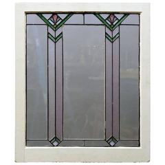 Antique Arts & Crafts Frank Lloyd Wright Style Leaded Stained Glass Window c1910