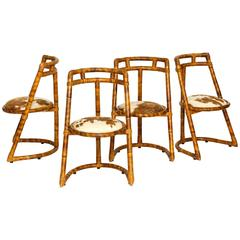 Bamboo Cowhide Four Chairs, Brown, Mid-Century, France, 1970s