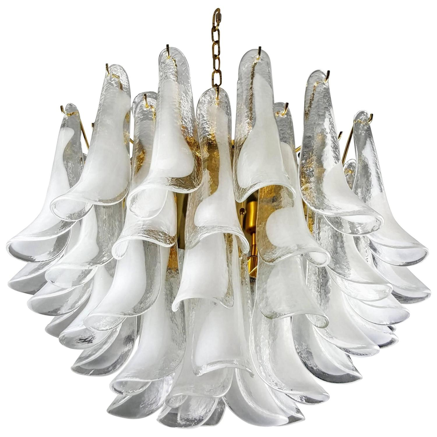 large mazzega murano blown glass shell frond chandelier italy 1970s at 1stdibs - Blown Glass Chandelier
