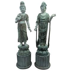 Pair of Large Chinese Guanyin Statues in the Manner of of James Mont